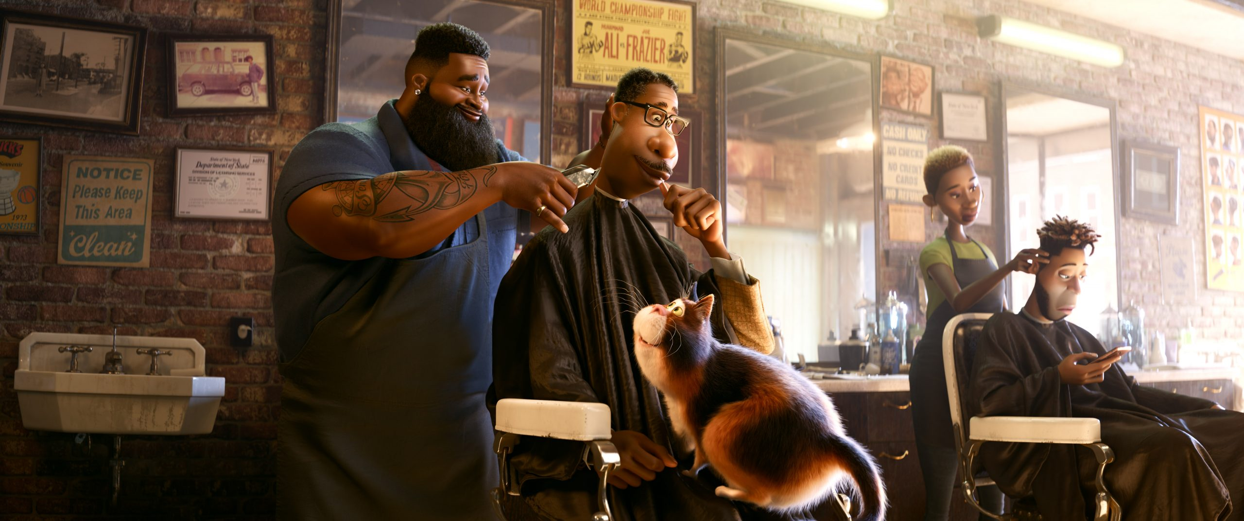 The barbershop scene from Soul. Image courtesy Disney/Pixar.