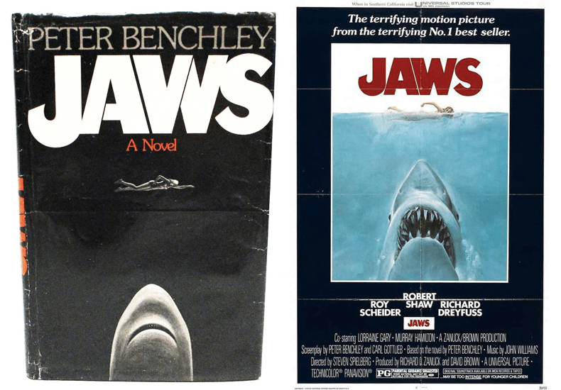 At left, designer Paul Bacon's cover for the hardcover edition of Jaws in 1974 for Doubleday. On the right, the original one-sheet poster from Jaws the movie, with poster artwork by Mick McGinty, who took inspiration from Bacon's layout and typography. Book club edition of Jaws from Ken's Book Cellar in Milwaukee, Wisconsin. Movie poster image from 1stdibs.