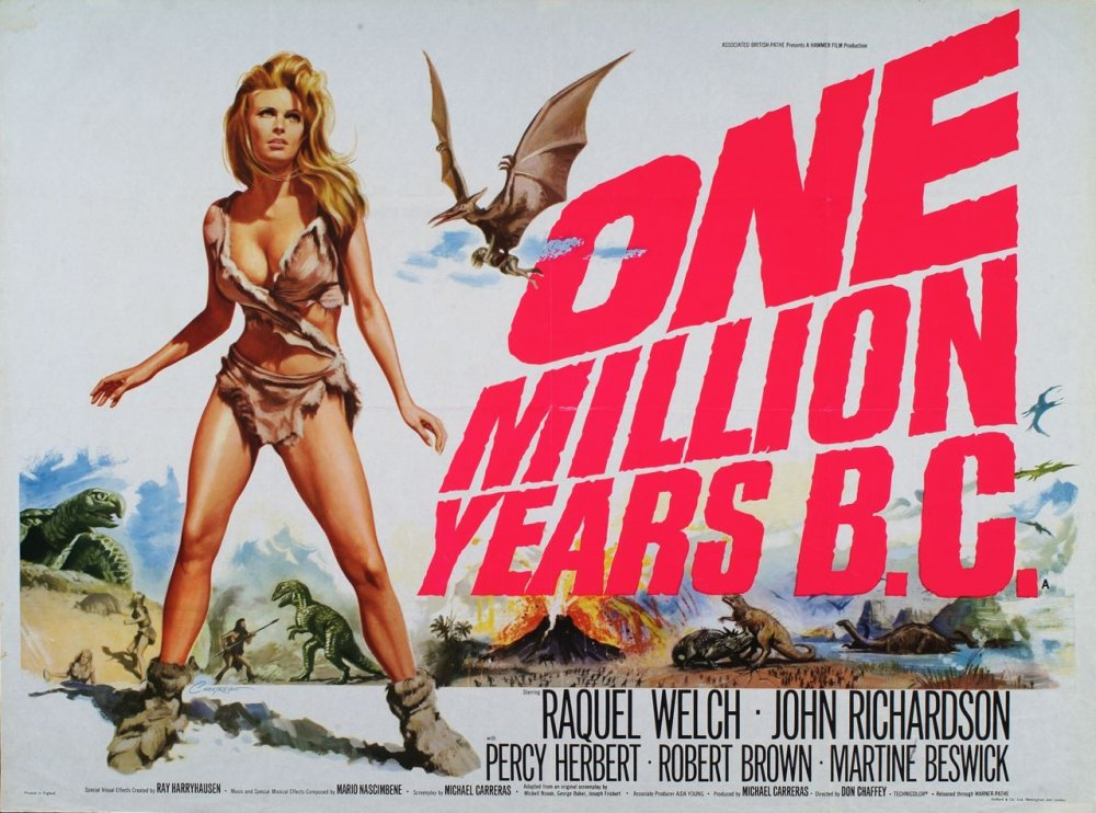 Most of the posters from this 1966 British-made fantasy adventure movie feature a very large Raquel Welch, but the real stars of the film might have been the stop-motion dinosaurs from the legendary Ray Harryhausen. The British Film Institute collects his original drawings.