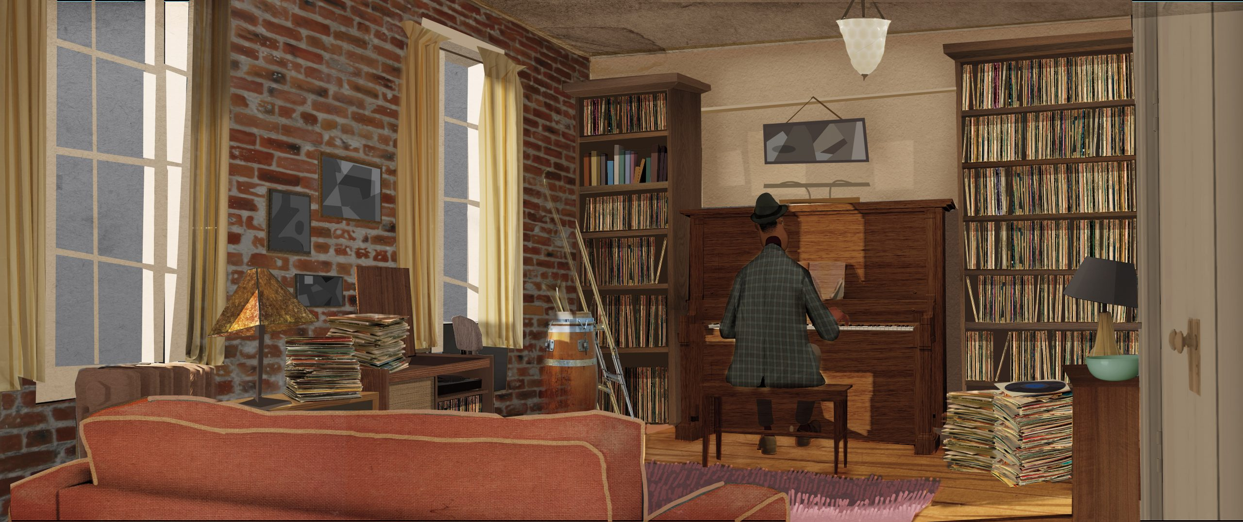 This concept art by Bryn Imagire shows Joe, a music teacher with big dreams, at the piano in his apartment in Queens. The music for Soul came from the bandleader Jon Batiste. Image courtesy Disney/Pixar.