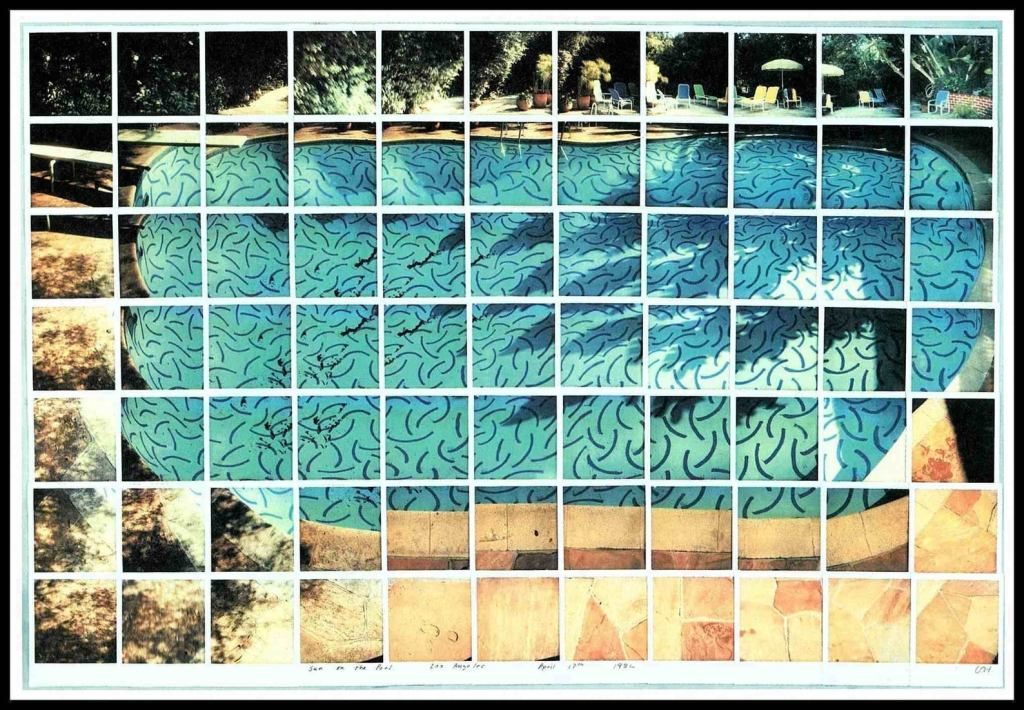 Around 1982, painter David Hockney experimented with capturing the passage of time by collaging many Polaroid images together into one Cubist image – like this one of his famous pool. Learn much more about Hockney's composite Polaroids at the David Hockney Foundation.