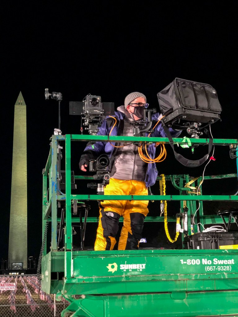 Posted in front of the Washington Monument, Stephen Wilkes and Lenny sat on this crane for many hours, holding their bodies still in the brisk wind and cold to line up their images perfectly.