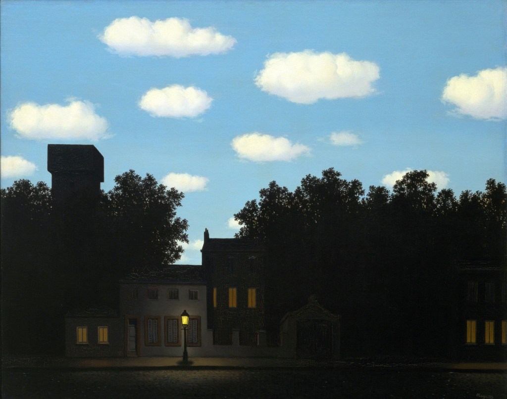 Across the last decades of his life, Rene Magritte painted almost 30 different versions of this image, which blends the closeness of night and the wide open blue sky above. One version came up for sale in 2018, according to Artsy. Learn more about the painting in this useful essay from SFMOMA.