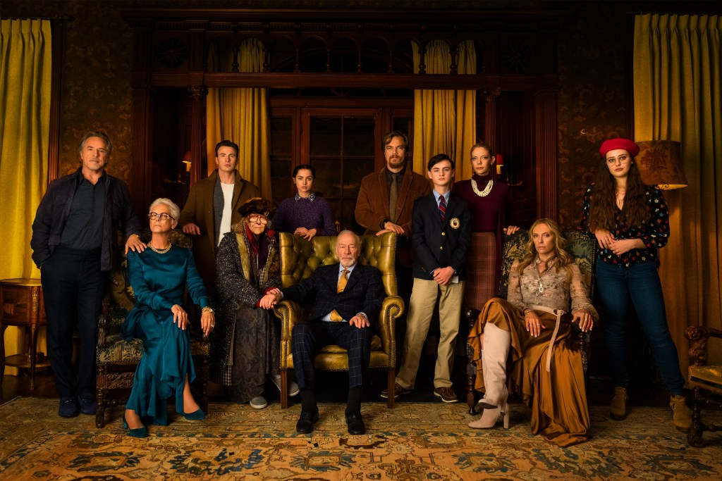 Gears in the machine: The cast of Knives Out, assembled in the Ames Mansion. From left to right. Richard (Don Johnson), Linda (Jamie Lee Curtis), Ransom (Chris Evans) Great Nana (K Callan), Marta (Ana de Armas), Harlan Thrombey (Christopher Plummer) Walt (Michael Shannon), Jacob (Jaeden Martell), Donna (Riki Lindholm), Joni (Toni Collette) and Meg (Katherine Langford) in KNIVES OUT. Photo Credit: Claire Folger