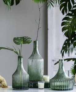 Green Fluted Glass Vase Collection
