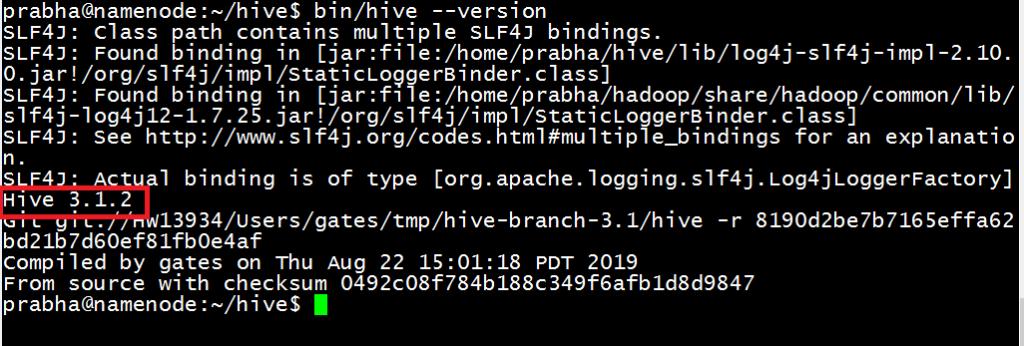 Apache Hive installation - version