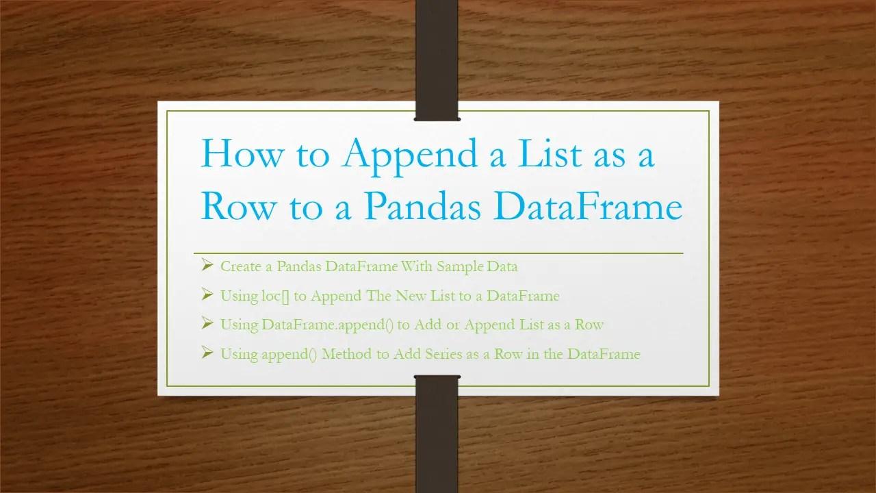 Pandas – Append a List as a Row to DataFrame