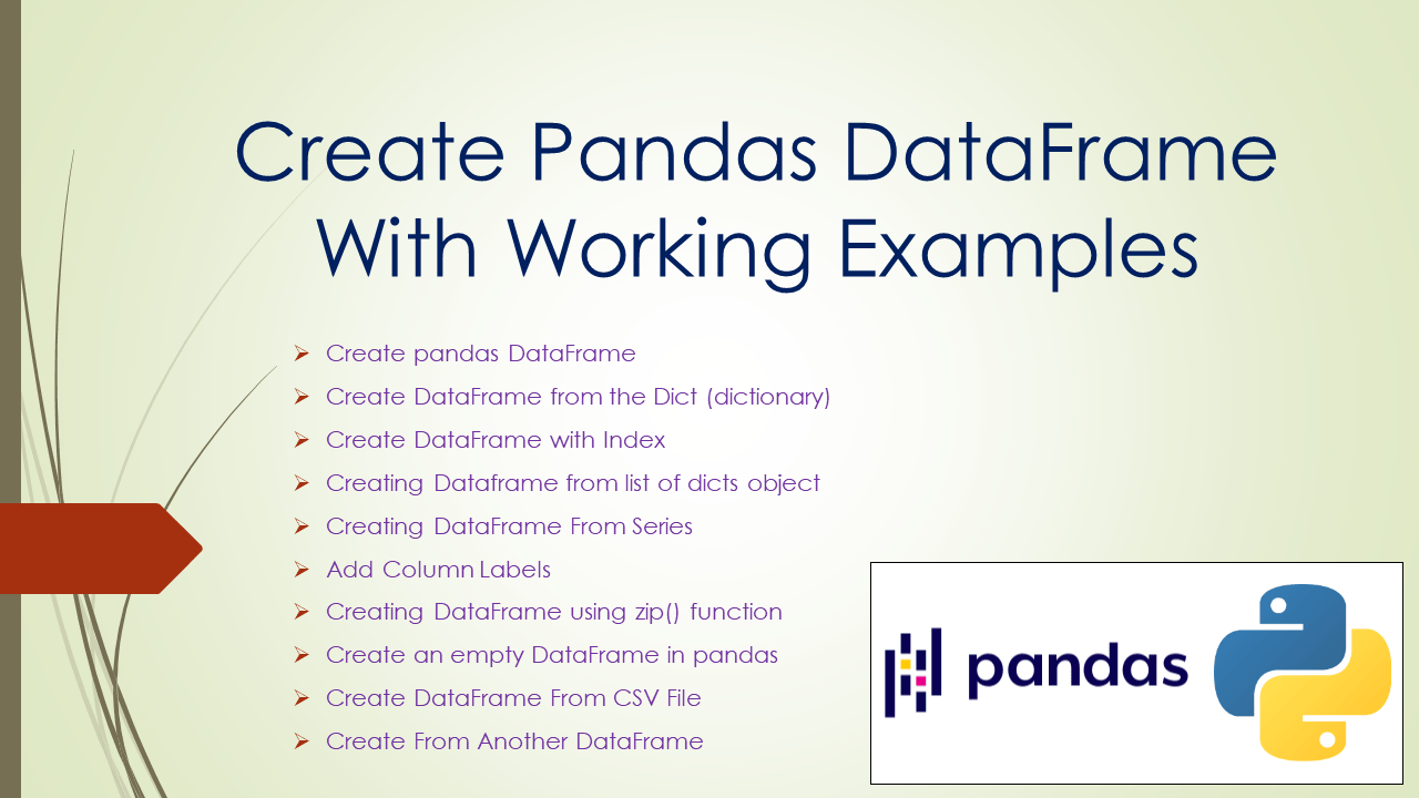 Create Pandas DataFrame With Working Examples