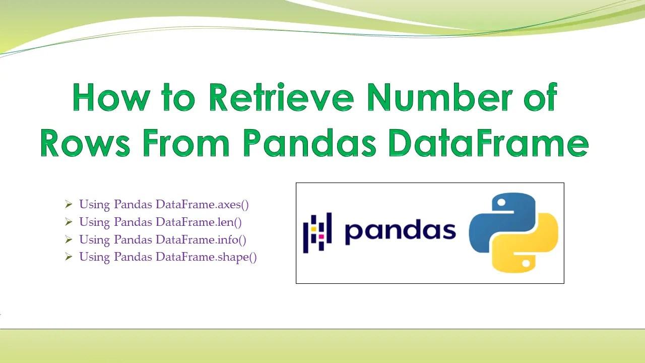 Pandas – Retrieve Number of Rows From DataFrame