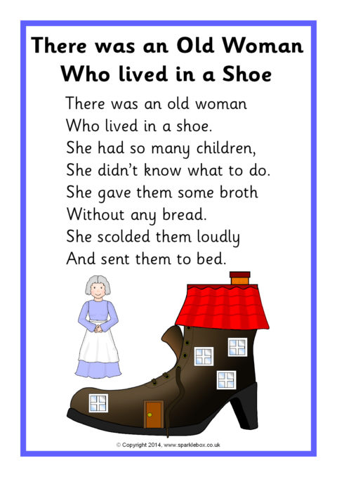 There Was An Old Lady Who Lived In A Shoe : there, lived, There, Woman, Lived, Rhyme, Sheet, (SB10896), SparkleBox