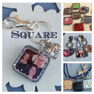 square resin keychain