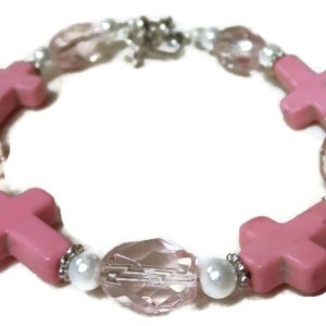 pink white magnesite cross
