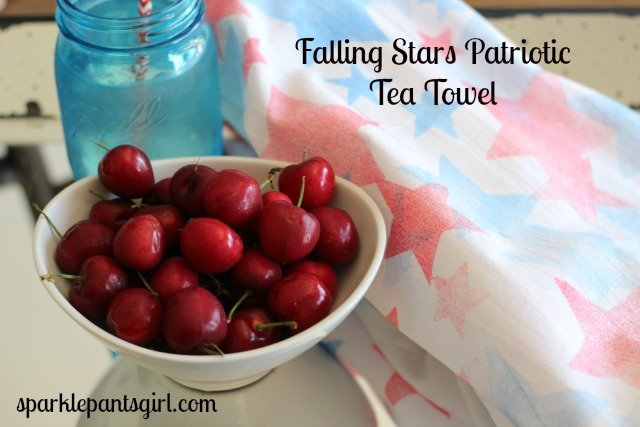 Falling Stars Patriotic Tea Towel