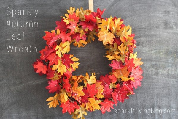 Sparkly Autumn Leaf Wreath sparklelivingblog.com