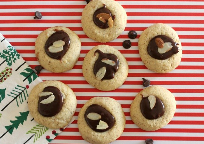 Almond Milk Chocolate Ganache Thumbprint Cookies