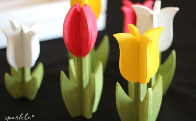 Springtime Painted Wooden Tulips Sparkle Living Blog