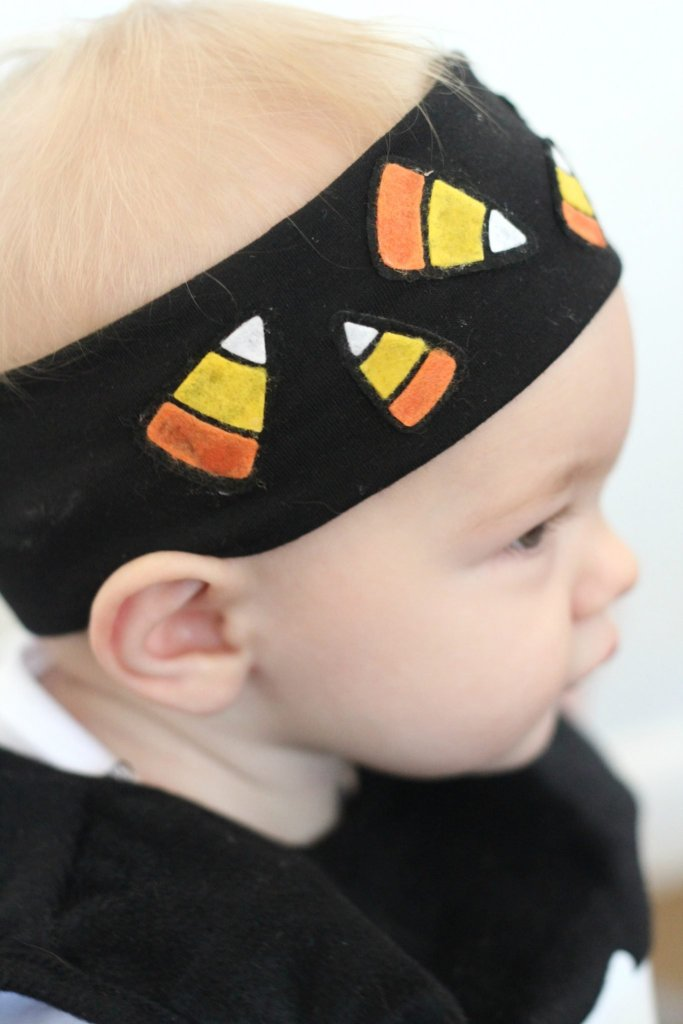 Make a fun headband for Halloween with felt candy corn!