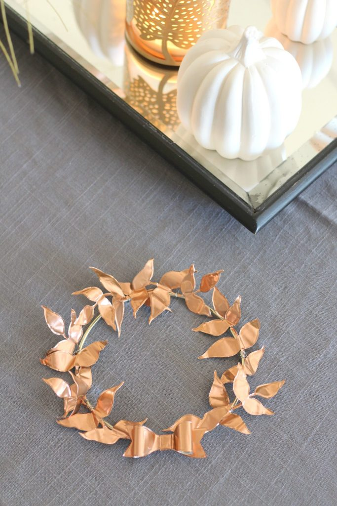 Mini Copper Leaf Wreath. DIY this wreath for your fall and Thanksgiving decor!