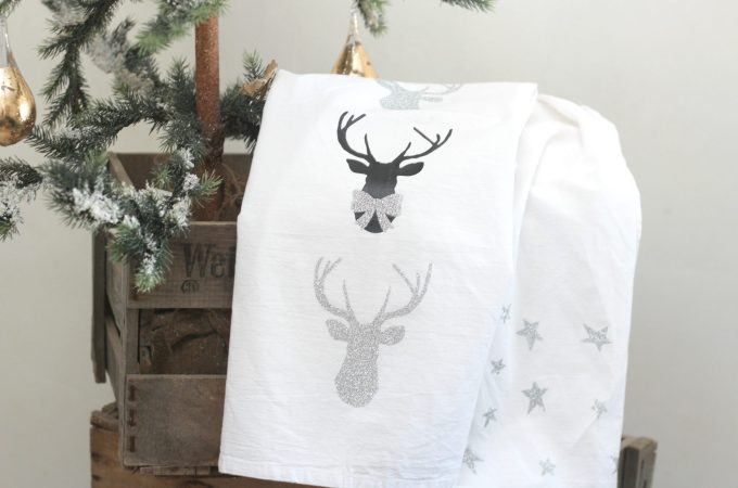 Stars and Sparkly Reindeer Tea Towels
