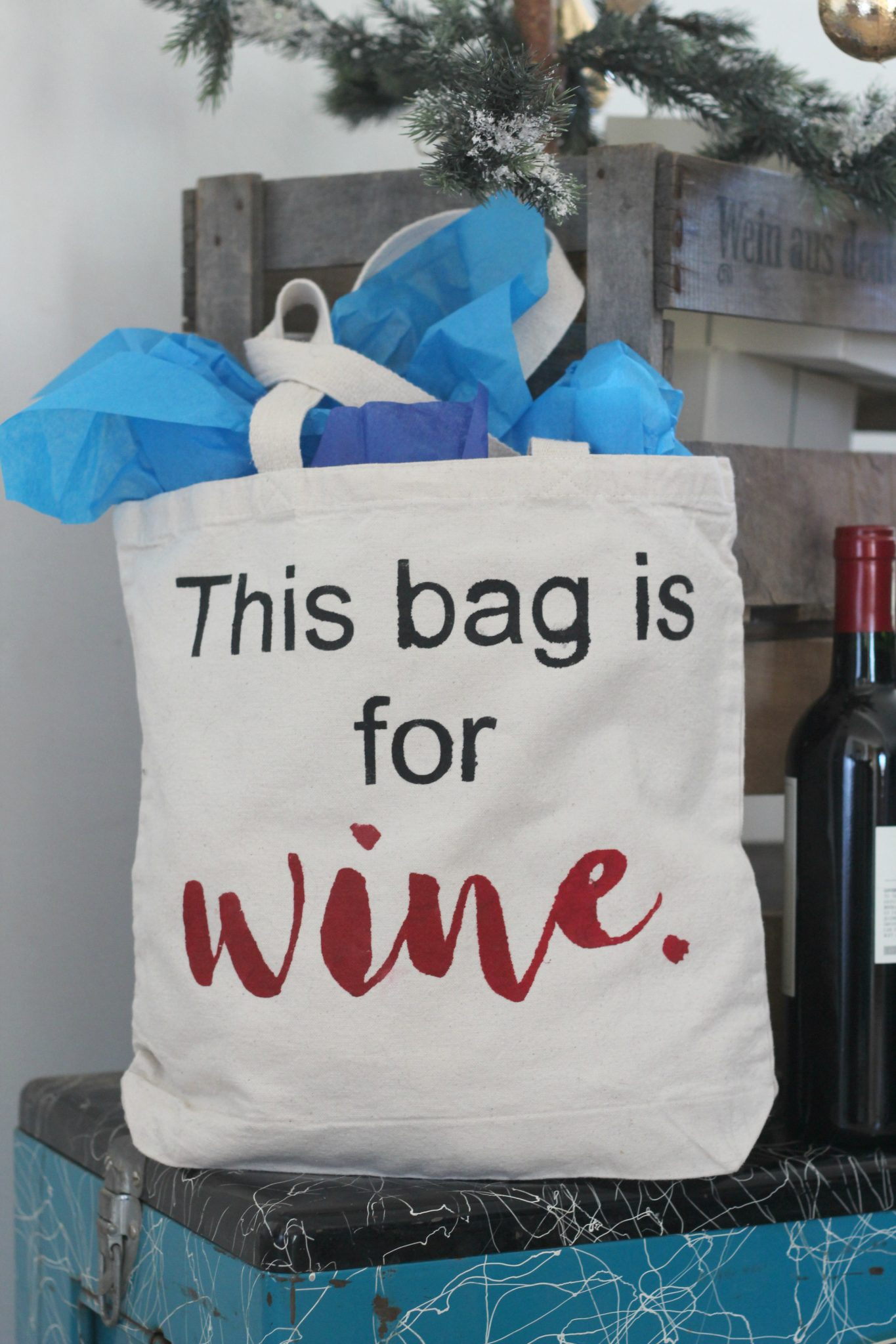 Freezer Paper Stenciled Canvas Tote - Wine themed for holiday gifting.
