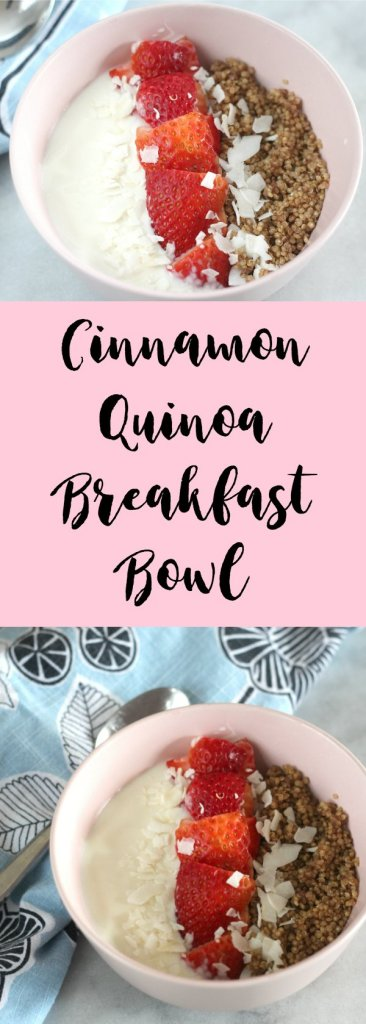 This Cinnamon Quinoa Breakfast Bowl makes a tasty and nutritious morning meal. The quinoa can be prepared ahead and topped with fruit, berries and yogurt!