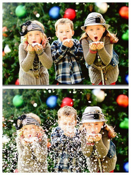 Kids playing in confetti snow