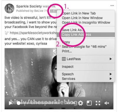 share your facebook live link