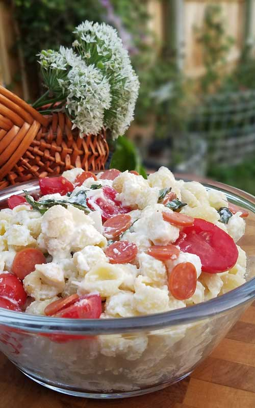 Fresh tomato and basil come together with a few other ingredients to make a simple Cheesy Italian Pasta Salad with a huge depth of flavor.