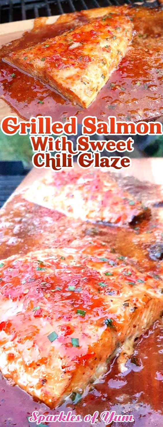 Sweet and spicy. Light and savory. This Grilled Salmon with Sweet Chili Glaze is a perfect example of mixing flavors together, and having them work together perfectly. #salmon #grilledsalmon #grilling