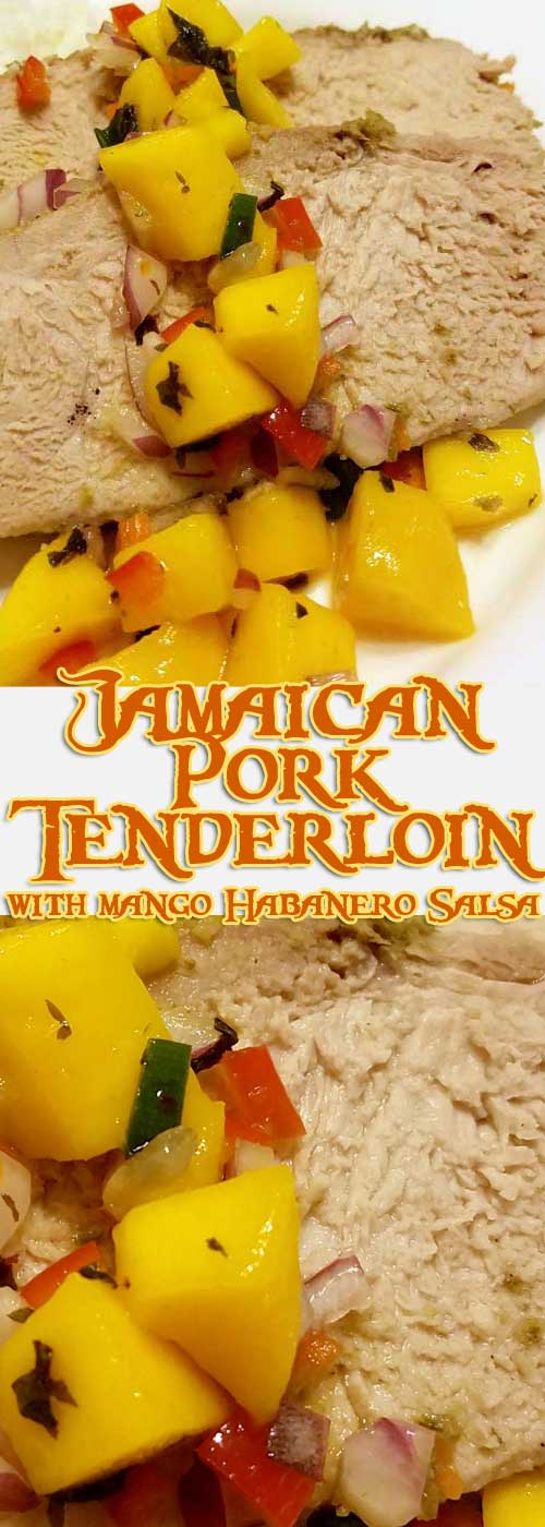 This Jamaican Pork Tenderloin with Mango Habanero Salsa recipe will knock your socks off with it's Caribbean blend of spicy peppers and tropical sweetness.  #Jamican #mango #peppers