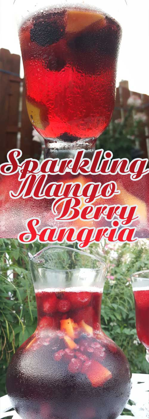 This Sparkling Mango Berry Sangria is a perfect and super-simple way to celebrate summer, or any day for that matter. #sangria #wine #mango #berry #drinks