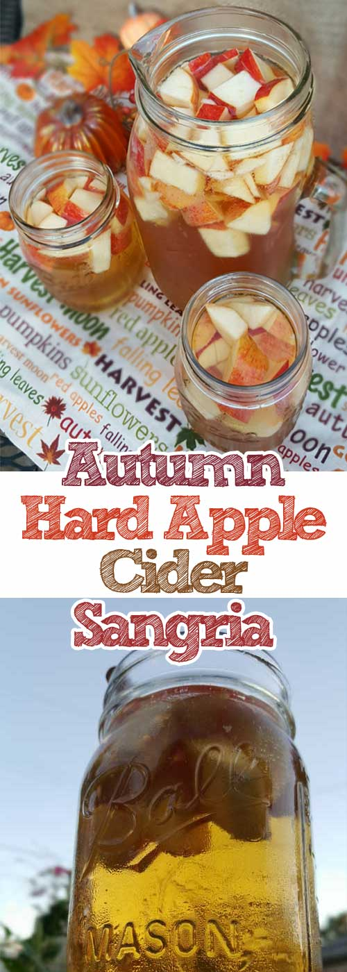 Crisp fall flavors compliment each other in this Autumn Hard Apple Cider Sangria. If your planning a fall party this would be an easy and tasty crowd pleaser. #Autumn #apple #cider #Sangria