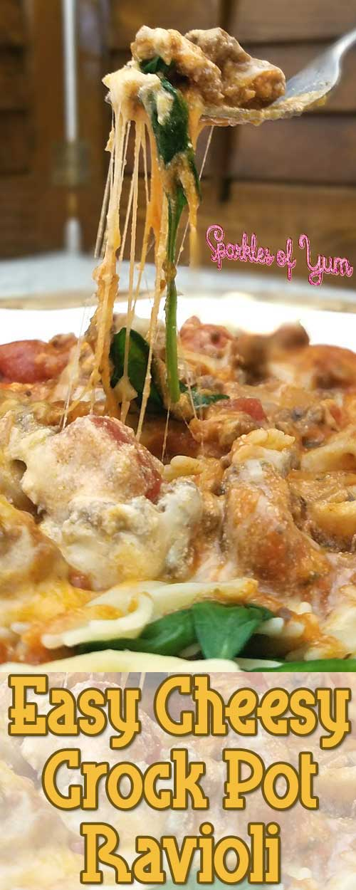 Easy Cheesy Crock Pot Ravioli - This is what we call a stick to your ribs dinner, no one will walk away hungry. Especially when it tastes so darn good that you don't want to stop eating.