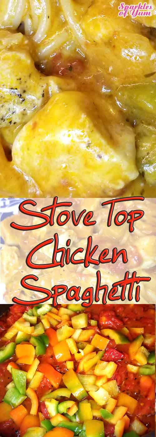 Stove Top Chicken Spaghetti the perfect quick, easy, and delish dinner for a weeknight when everyone is on the go.