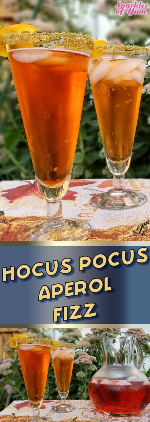 Hocus Pocus Aperol Fizz - Deliciously simple with only 3 ingredients. You need to make this beautiful drink! #halloween #Italian #drinks #cocktails