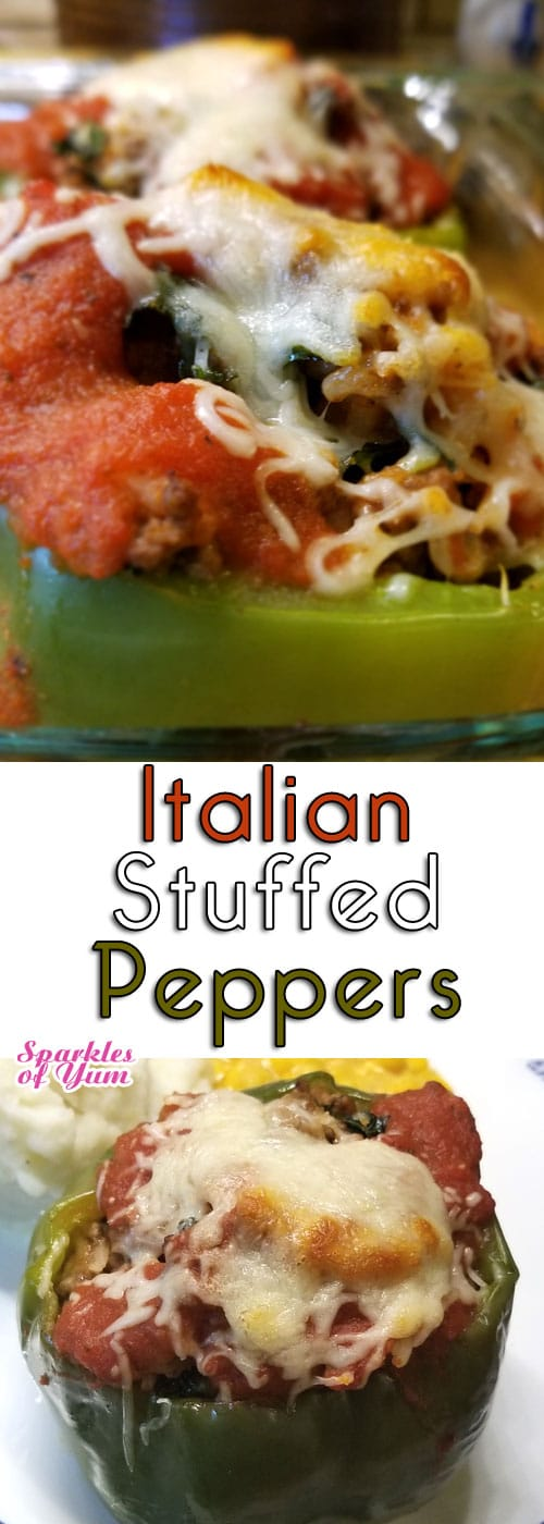 Italian Stuffed Peppers are a regular in our household. Just simple ingredients coming together so easily, and it turns out so good every time. #stuffedpeppers #Italian #comfortfood #dinnerideas