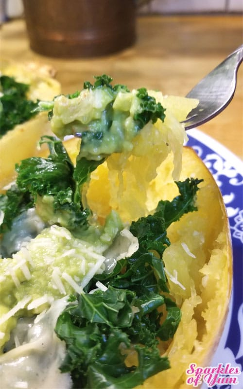 Cheesy Avocado and Kale Spaghetti Squash