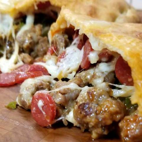 This Meat Lovers Gameday Calzone has all the fixings of a supreme pizza in Calzone form. Fun to make and even more fun to eat! Perfect for a Super Bowl party or any gameday!