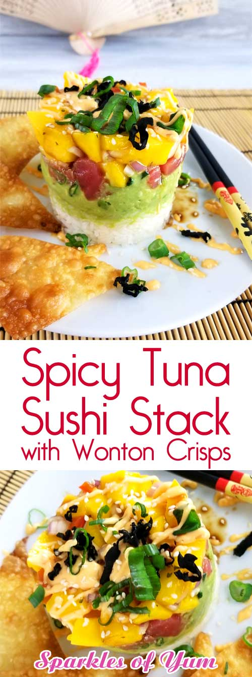 This Spicy Tuna Sushi Stack with Wonton Crisps is so good and not very complicated to make. The perfect solution for when you have a craving for sushi and just can\'t fork out the big bucks. Umami=deliciousness #sushinight #datenightin #ahistack #ahitower