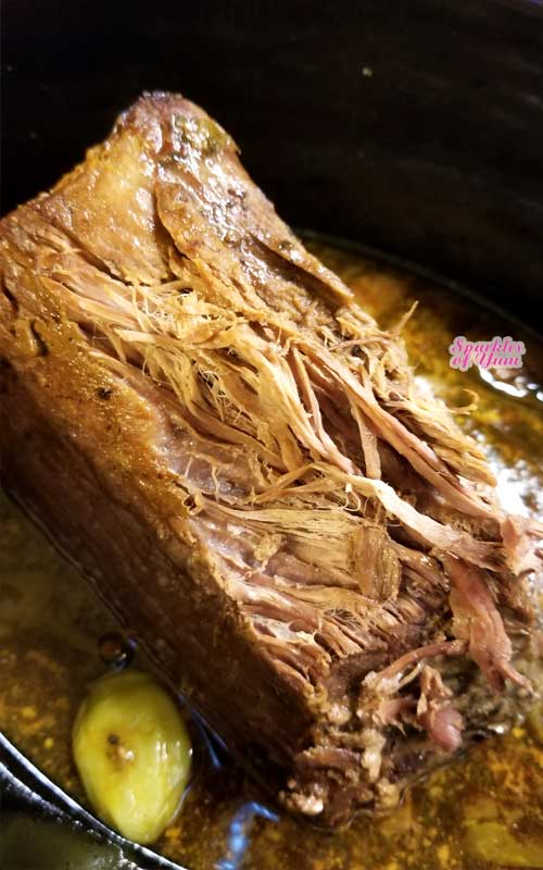 An easy peasy gravy makes a silky, scrumptious, and divine addition to this fork tender Mississippi Pot Roast recipe that broke the internet. Hits it out of the park every time! A few squeezes with the tongs, and this roast literally falls apart.