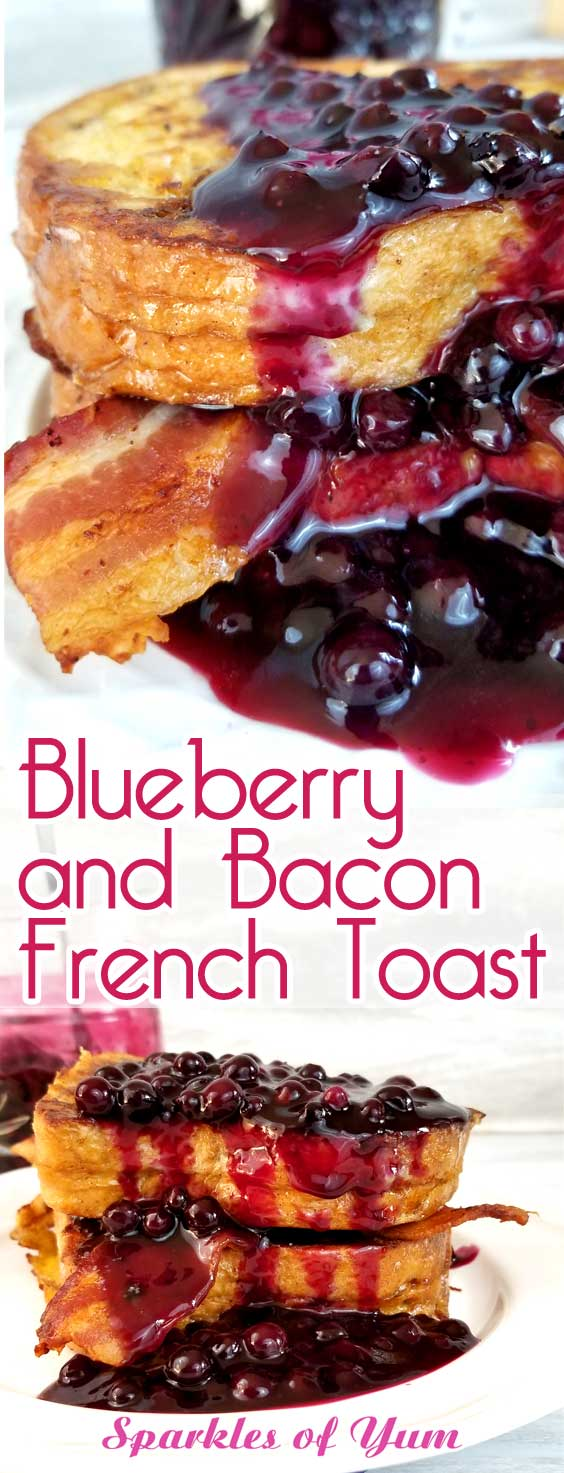 Oh my heavens! Blueberry and Bacon French Toast is my new obsession! Weekend brunch, holiday breakfast or breakfast for dinner, I'll take any and all if this is on the table! #blueberries #breakfast #frenchtoast
