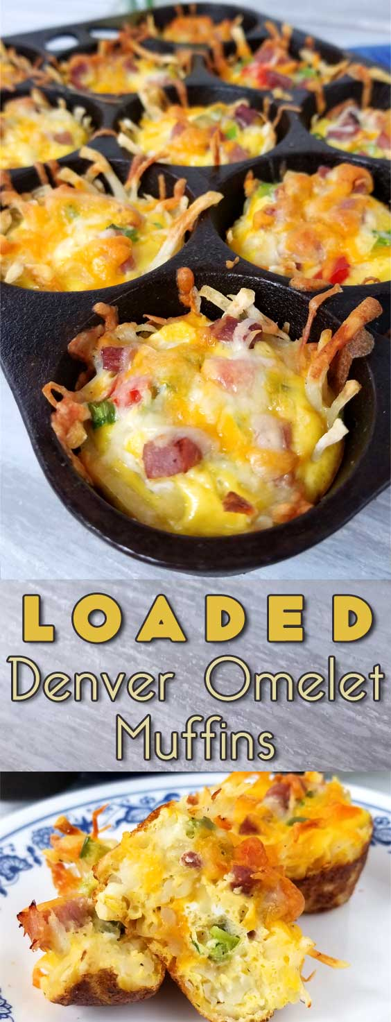 Rise and shine with a plan. A cheesy, crispy Loaded Denver Omelet Muffin plan that is! I'm loving brunch at home, no waiting in line for a table, just takes a little planning ahead. #breakfastrecipe #brunchrecipe #easterbrunch