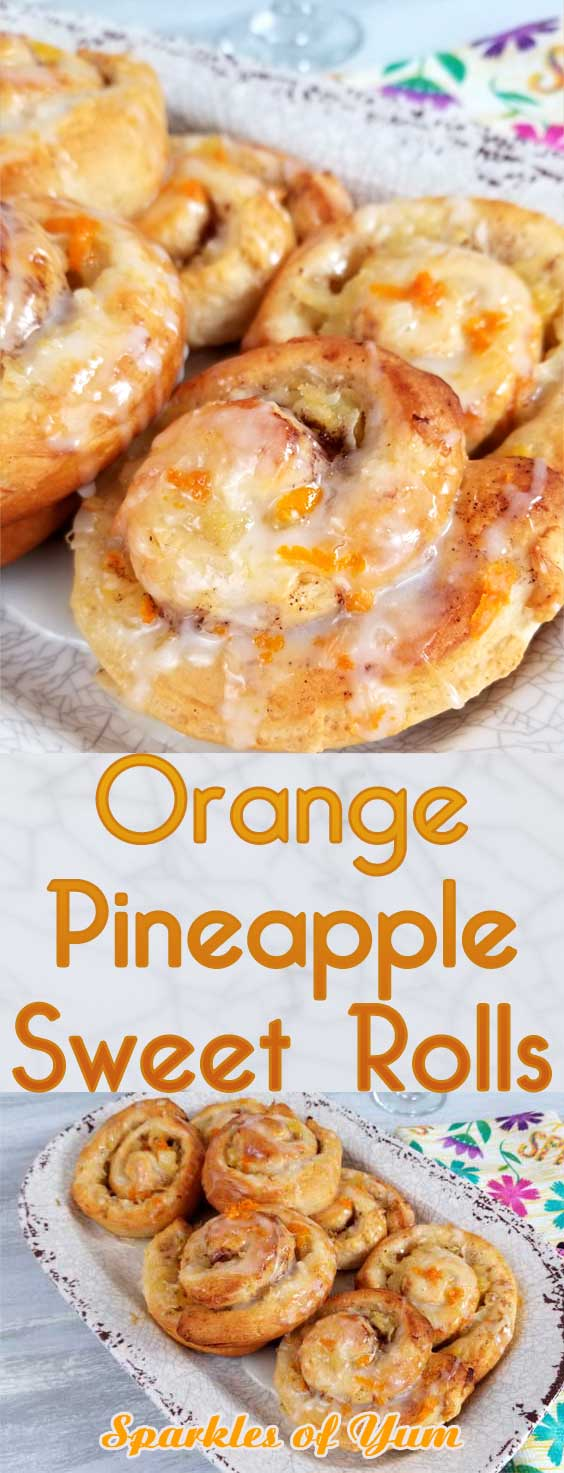 Jazz up your morning with some sweetness. Quick and simple Orange Pineapple Sweet Rolls with a Pineapple Glaze! #cinnamonrolls #breakfastrecipe #sweetrolls #orange #pineapple #easterbrunch