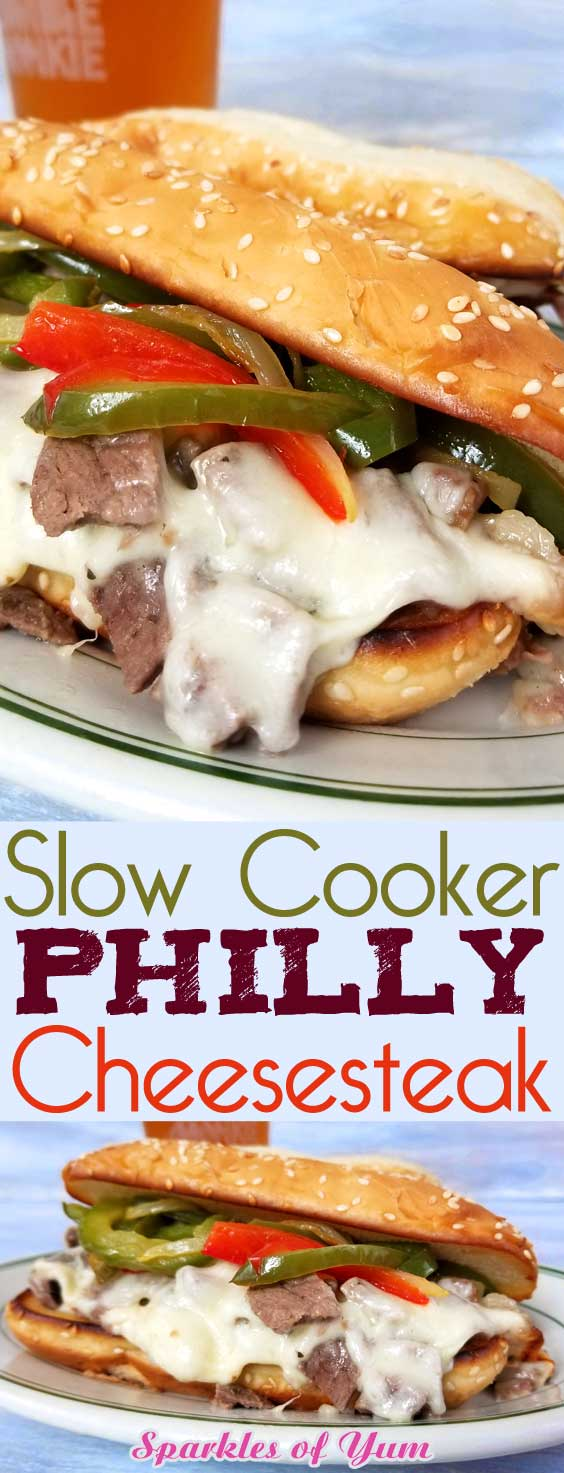 Slow Cooker Philly Cheesesteak - Some kind of magic occurs when you bring all of these wonderful flavors together! When combined, and with a little time, they make the most tender and juicySlow Cooker Philly Cheesesteak Sandwiches you will ever have! #slowcookerrecipe #cheesesteak #beefrecipe #dinnerideas