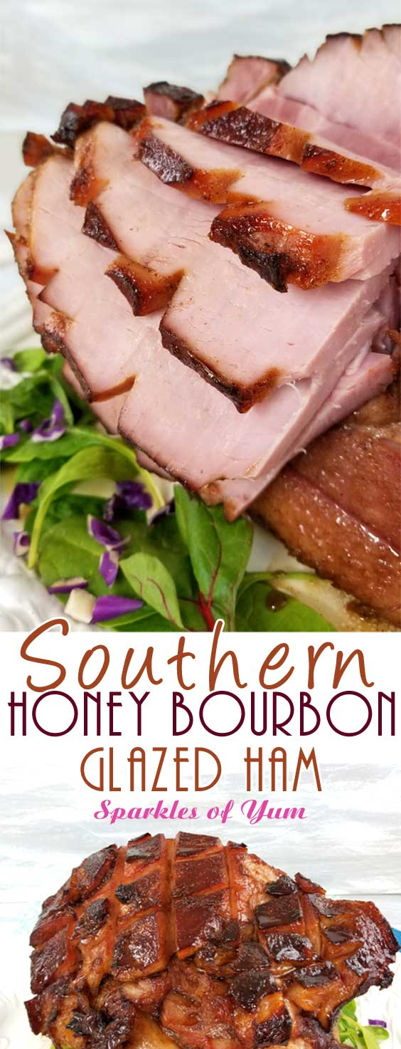 TA DA!! Between the deep, smoky, sweet flavors from the bourbon to the fragrance of the warm spices caramelizing on the ham; it\'s hard not to pick pieces off of thisSouthern Honey Bourbon Glazed Ham before it\'s ready to hit the table. #holidayham #easterham #southerncooking #glazedham