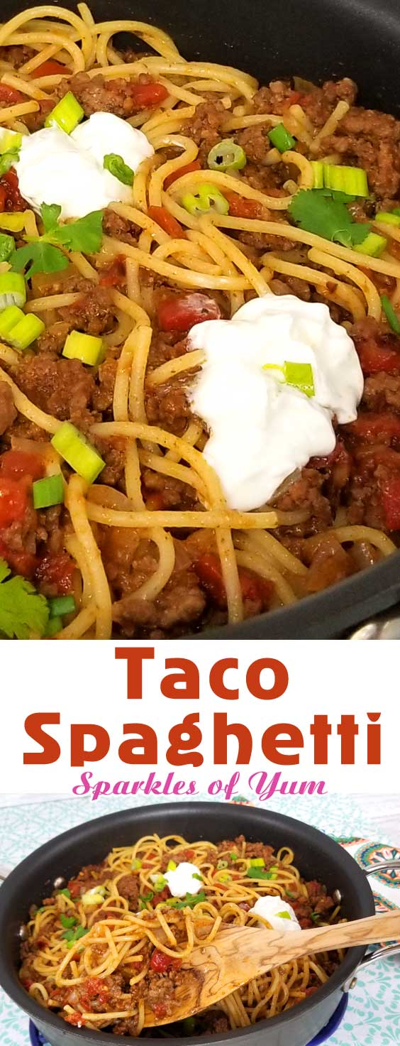 Quick easy and full of flavor, that\'s what I like for a busy weeknight dinner, and this Taco Spaghetti recipe comes together in under 30 minutes. the perfect no fuss, quick clean up dinner. #dinnerideas #spaghettinight #easydinner