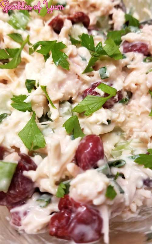 This Cherry Chicken Salad recipe is delicious, easy to make, and perfect for those days when it is just too hot or busy to be bothered with using the stove.