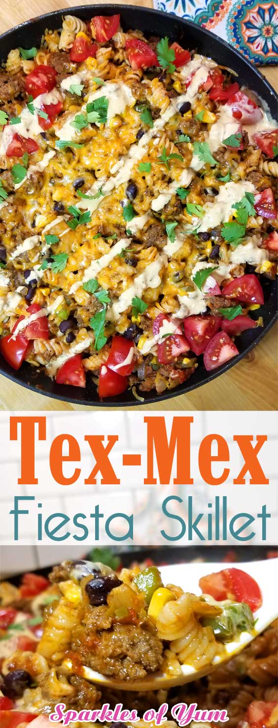 Delicioso, family friendly, quick dinner with easy clean up. This Tex-Mex Fiesta Skillet recipe checks all the boxes for the perfect weeknight meal in my book, and it's pretty too! #oneskillet #texmexrecipe #dinnerideas #weeknightmeal