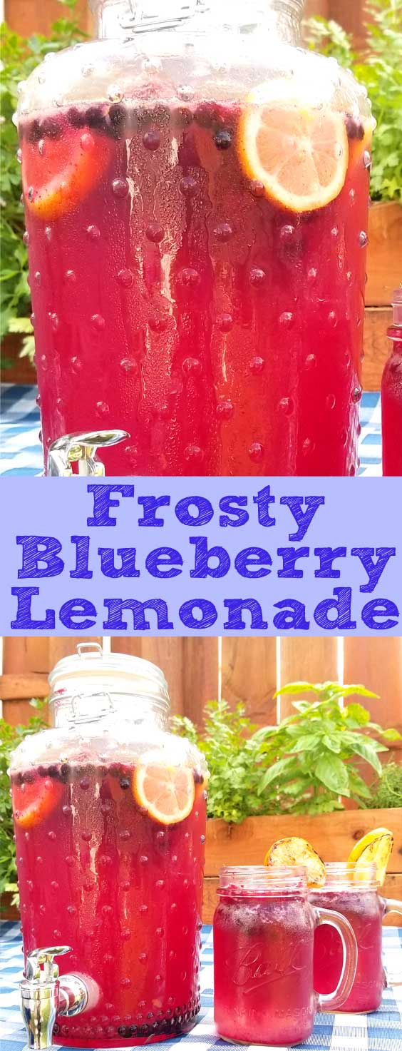 The whole family will love this Frosty Blueberry Lemonade. It has just the right amount of sweetness and tart, with slushie blueberry ice to keep you hydrated and beat the heat on a hot summer day. #summer #drinks #blueberry #lemonade