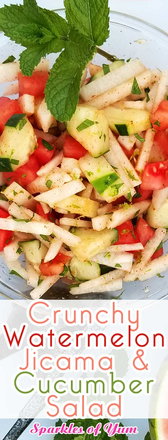 Super healthy, light, and refreshing. This Crunchy Watermelon Jicama & Cucumber Salad is a perfect side dish for a weekend party, or any summer meal for that matter. #summer #salad #healthy #cucumber #watermelon #jicama